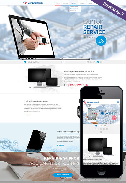 Computer repair, Bootstrap template