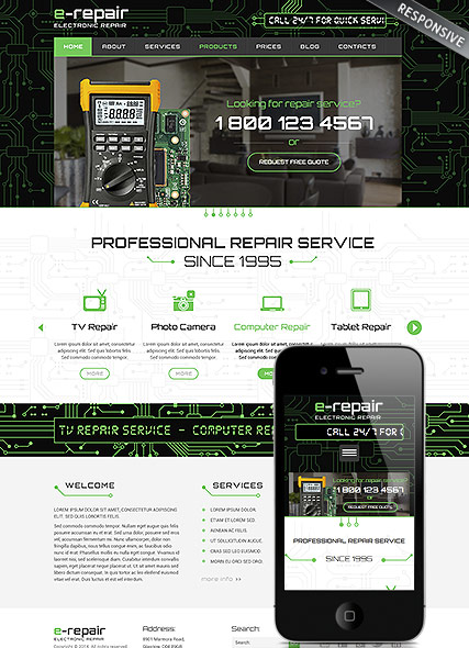 electronic repair, Wordpress template