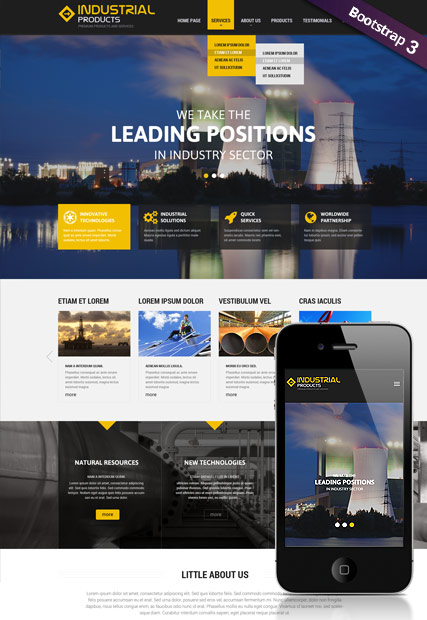 Industrial product, Bootstrap template