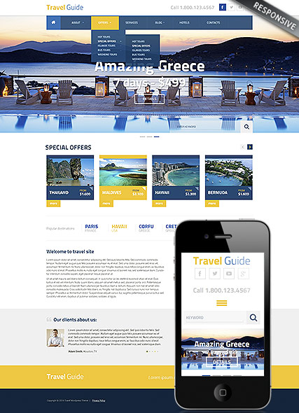 Travel Guide | Wordpress templates | ID:300111835