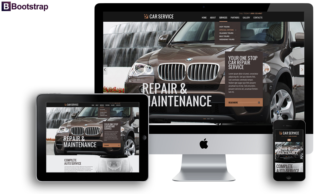 Car service, Bootstrap template