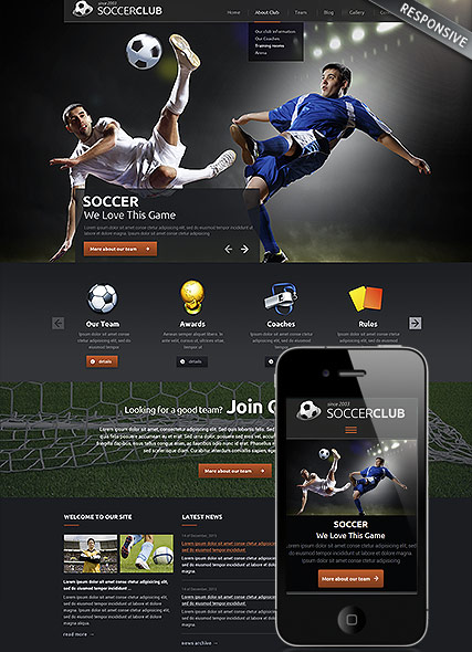 Name: Soccer club - Type: Wordpress template - Item number:300111840