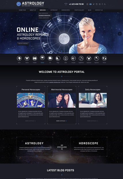 Astrology, Wordpress template