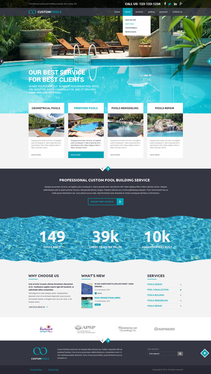 Custom Pools, Bootstrap template