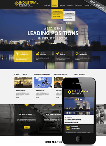 Industrial products, Wordpress template