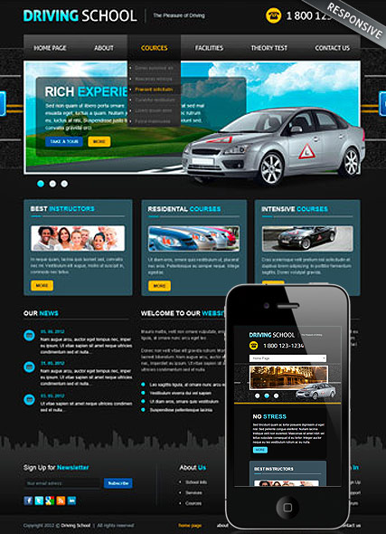 Driving School v3, Joomla template