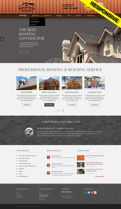 Roofing, Wordpress template