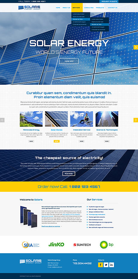 Name: Solar energy - Type: Bootstrap template - Item number:300111856