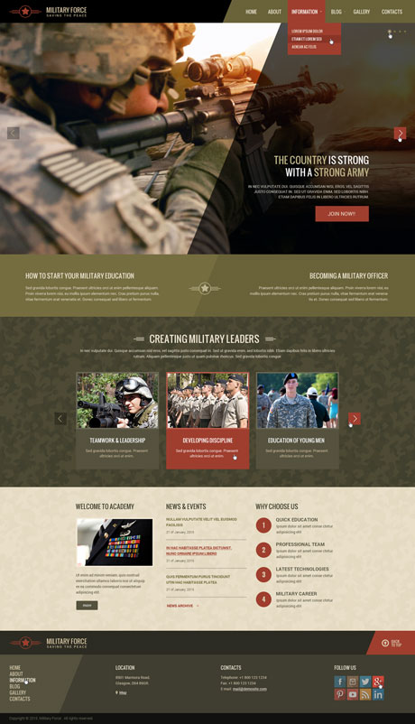 Name: Military - Type: Wordpress template - Item number:300111857