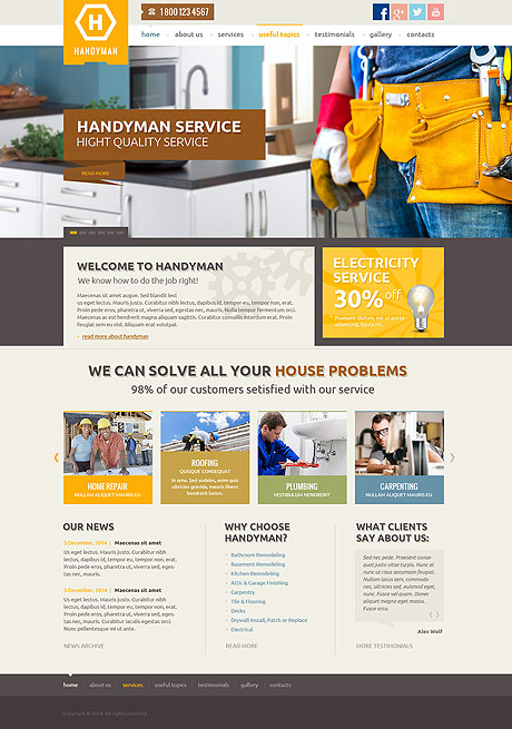 Handyman service, Wordpress template