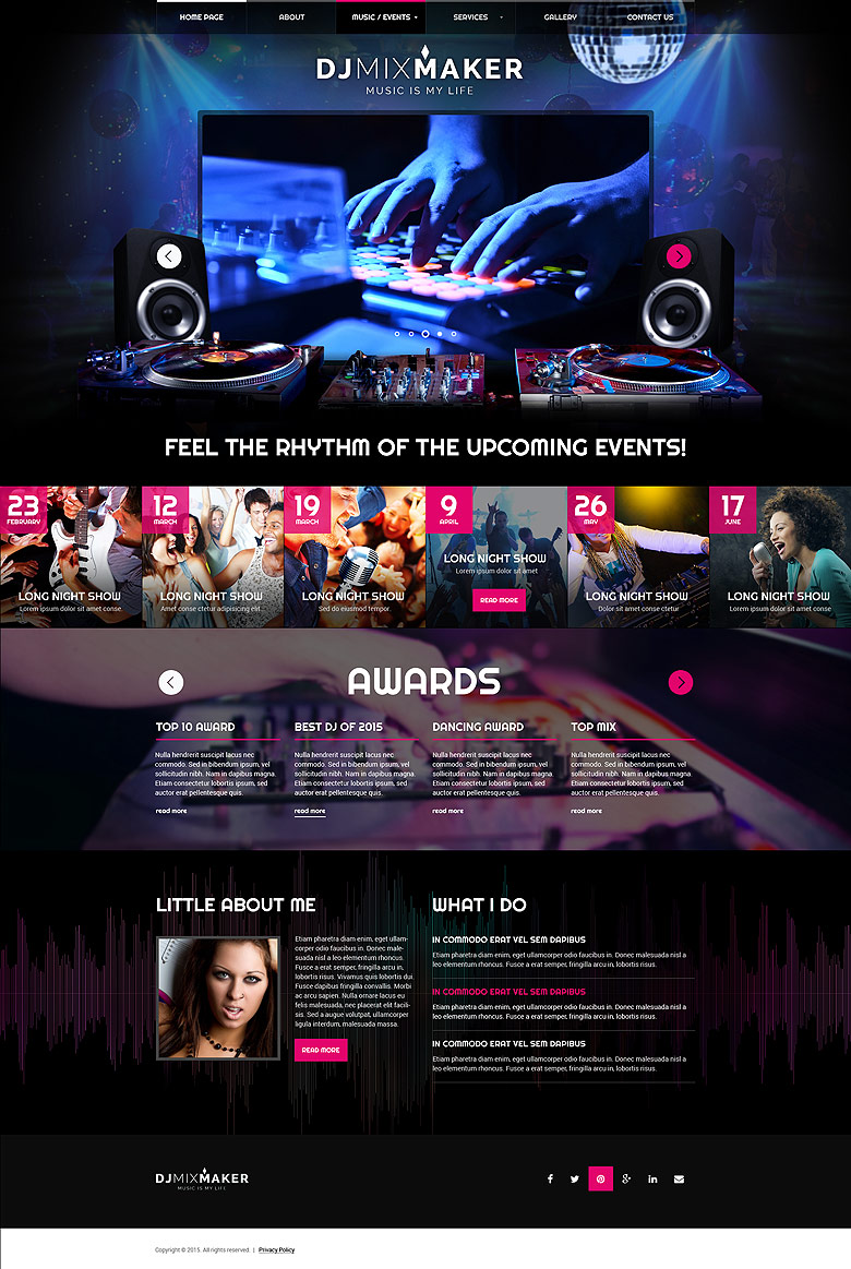Name: DJ Music - Type: Bootstrap template - Item number:300111860