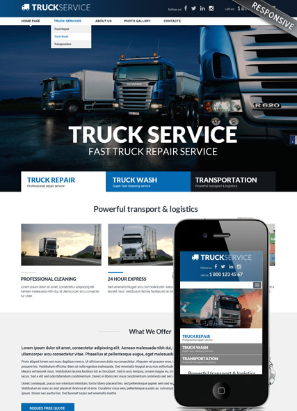 Truck service, Bootstrap template