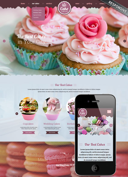 Name: Cake shop - Type: Bootstrap template - Item number:300111865
