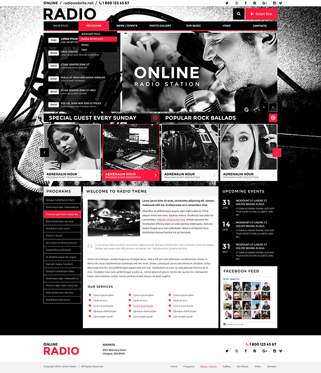 BW Radio, Wordpress template