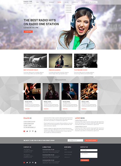 Radio One, Wordpress template