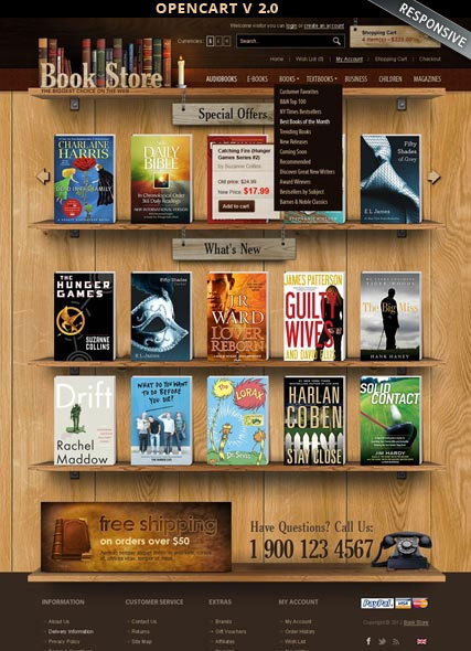 Name: Book Store 2.0 - Type: OpenCart template - Item number:300111896
