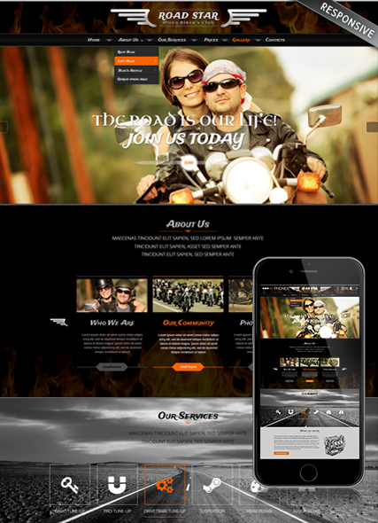 Name: Bikers club - Type: Bootstrap template - Item number:300111906