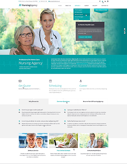 Nursing care, Bootstrap template