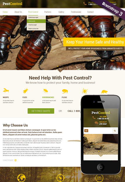 Name: Pest Control v3.5 - Type: Joomla template - Item number:300111910