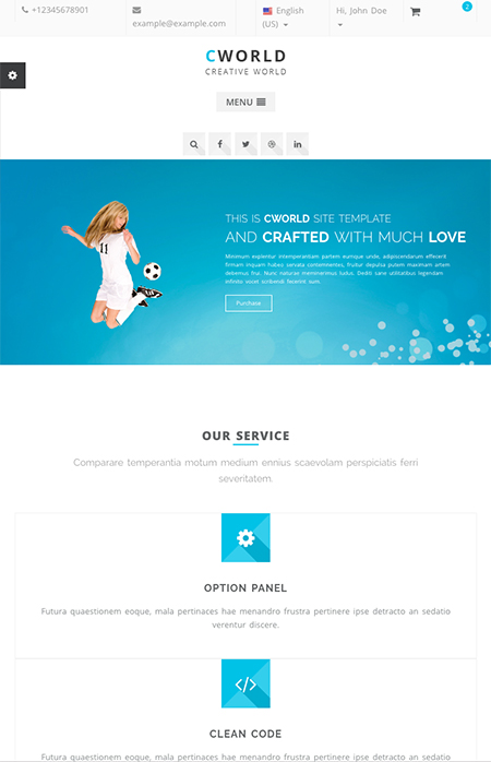 Name: CWorld - Multi-Purpose - Type: Bootstrap template - Item number:300111915