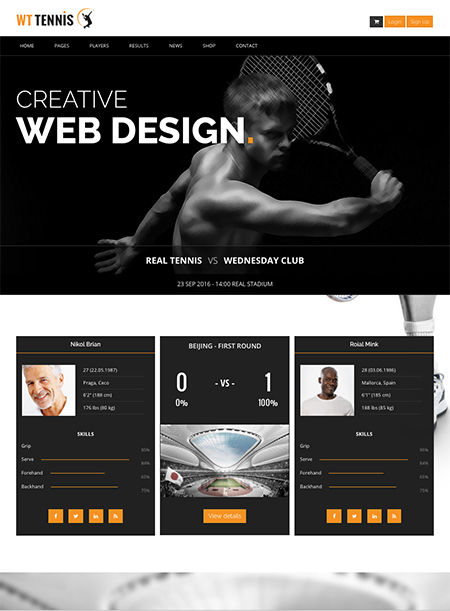 Name: Tennis Club - Type: Bootstrap template - Item number:300111916