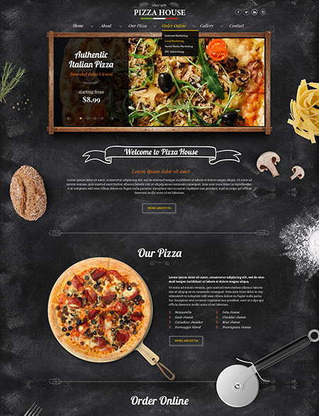 Pizza House, Bootstrap template
