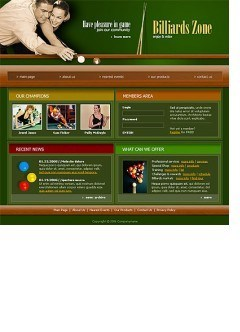 Billiard Website template